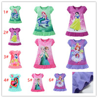 Wholesale 2017 summer girls dresses Elsa Anna Mermaid Sofia Snow White Minnie kids pajamas polyester nightgowns sleepwear clothes T