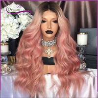 al por mayor resistente para el cabello de calor-Peluca rosada de Ombre de la manera Pelucas sintéticas delanteras del cordón de Kylie Jenner Raíz negra ondulada Glueless / pelo rosado Resistente al calor Pelucas de las mujeres del pelo