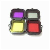 al por mayor las cámaras gopro hero3-Filtros de zambullida gris púrpuras rojos amarillos del filtro de la lente 2016 nuevos para los accesorios de la cámara de Gopro Hero4 / Hero3 + Action