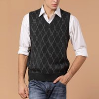 Wholesale New Men s Fashion Wool Sweater Pullover Sleeveless V Neck Knit Vest Casual for Autumn and Winter Basic Knit Tops Warm
