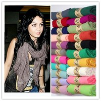 Acheter Foulards en coton de marque de gros-Vente en gros-180 * 90CM 2015 Brand New Designer de mode solides longue toile de coton écharpe occasionnels écharpes femmes