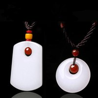 authentic jade jewelry - Authentic Natural White Jade Pendants Necklace Chinese Carved Jade Safe Buckle Pendant Fine Jade Jewelry