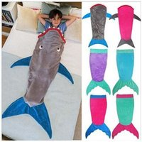 adult soft play - Baby love Adult sharks Children mermaid sleeping bag Double crystal soft velvet boys girls play is prevention