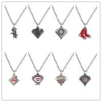 baseball team gift - 20pcs Enamel Boston Sox Chicago Cubs Indians Baseball Team Logo Pendant Necklace Fans Gifts A122277