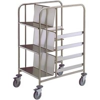 Wholesale kindelt service trolley for plates and racks edges welded distribution trolley legs with brakes heavy duty commercial kitchen trolley