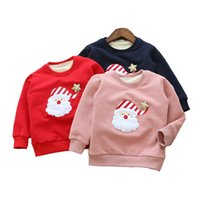 Wholesale Girl Kids Pullover More Warm Cotton And Wool Round Collar Santa Embroidery Fleece Character Winter Bright Color