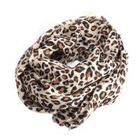 achat en gros de écharpe léopard imprimé chaud-Grossiste - Femmes Lady Elegant Noble Style Classique Leopard Print Cotton Mélange Warm Scarf Shawl Wrap