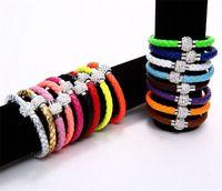 american diversity - Hot Sale PU Leather Bracelet Shamballa CZ Disco Crystal Bracelet Fashion Diamond Magnetic Clasp Bracelet Wristband Jewelry Color diversity