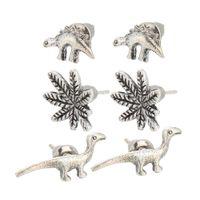 Wholesale Korean retro punk little Earrings Set ancient silver cardboard dinosaur small animal ear jewelry leaves silver