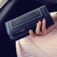 La nouvelle marque de mode européenne et américaine de style pu cuir femmes portefeuilles de haute qualité double couche d'embrayage sac à main monnaie zipper # 68087