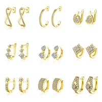 Wholesale 30pairs models mixed order K yellow gold plated small hoop earrings cubic zirconia trendy huggie for women er185