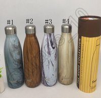 barrel mug - Swell Bottle With Round Barrel Packing ML Wood Grain Stainless Steel Vacuum Mugs Cup colors Coke bottle OOA743