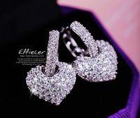 Wholesale 2017 hot selling Earrings Austrian Crystal bling shiny Heart shaped stud earrings studded alloy diamond earrings