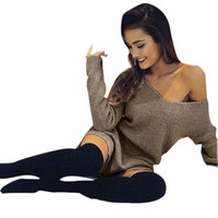 Wholesale Autumn Winter Women Fashion Brown Sexy Slash Neck Sweater Long Knitted Pullover Slim Jumper Tops Knitwear Dress Sep29