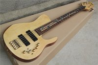 Wholesale ALL NEW Dragonfly Five Strings Whole Body Electric Bass Wood Color Body Maple Color Carvings Fingerboard Peach Heart