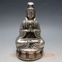 antique bronze dynasty - Tibet Silver Bronze Handwork Carved Kwan yin Statue w Qing Dynasty Mark