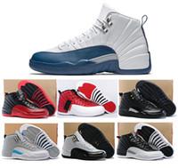 achat en gros de french-Chaussures De Basket-ball De Haute Qualité 12s Hommes Femmes 12s Grippe Jeux Français Bleu 12s Le Maître Gym Red Taxi Playoffs Chaussures Avec Boîte