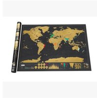 Wholesale Piece Deluxe Scratch Map Travel Black Scratch World Map Coating Poster mapa mundi x59 cm
