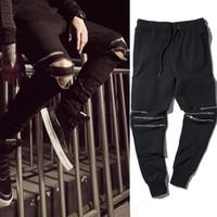 Wholesale New Winter Black Zipper Jogger Pants Men Women Slim Casual Pant Hip hop Dance Trousers Cotton Sportwear Jogging Pant