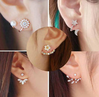 Wholesale Silver Stud Flower Earings Wholesale - Silver Jwelry Crystal Silver Daisy Flower Stud Earrings Ear Korean for Women Rhinestone Geometric Earings Fashion Jewelry Christmas Gift