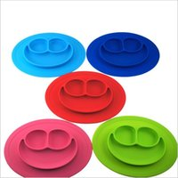 Wholesale ROUND placemats Children Kid Baby baby silicon bowl One piece silicone placemat plate Baby learning silicone cups dishes