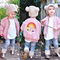 Down Coat baby flight jacket - Mini Rainbow Star Pattern Flight Jacket Baby Winter Jacket Coat Boys Girls Parka Kids Zipper Inner Is Cotton Children Clothing
