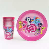 Wholesale new my little pony cartoon kids girls birthday party set disposable decorations plates paper cups glass party supplies