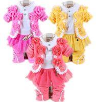 al por mayor chaqueta rosa bebé-El bebé determinado de la ropa larga de la muchacha de la ropa de los bebés 2016 de la venta al por mayor 2016 (jacket + pants + dress)