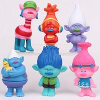 2017 6pcs / lot 7cm PVC Action Trolls Figurines Jouets Pour Enfants Vente en gros Cadeaux de Noël Dreamworks Movie Cartoon Kids Branch Ponny Dolls Les plus récents