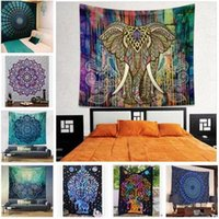 Wholesale BohemianTapestry Hippy Mandala Elephant Towels Wall Hanging Psychedelic Wall Art Dorm Decor Throw Indian Polyester Blanket Camping