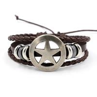 оптовых указывающего рукой-Ретро пятиконечная звезда кожаные браслеты панк простой досуг многослойная бисерные мужской браслет ручной ремешок студент ювелирные