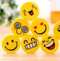 Wholesale 100 Funny Emoji Rubber Pencil Eraser Novelty Students kids Stationery Gift Toy