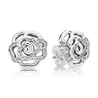 best holiday food gifts - 925 Sterling Silver Shimmering Rose Stud Earrings Clear CZ Earrings Fits Pandora Jewelry Best Gift for Girlfriend