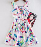 achat en gros de imprimé robes en mousseline de soie-Nouvelle robe de printemps en été Chiffon Print Casual Vintage Femme Beach Bohemian Mini Dress Vestidos Mode Femmes Vêtements pour dames