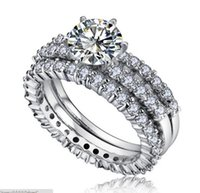 Wholesale Luxury Sparkling Cubic Zirconia Wedding Engagement Rings Women Band Ring Cluster Silver Rings Fashion Designer Jewelry