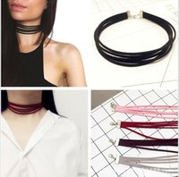 Wholesale 2016 new Europe and the United States fashionable personality wild skin velvet layer necklace Multi layer collar Necklace Clavicle chain