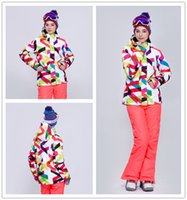 Wholesale New gsou snow womens curves ski jacket waterproof breathable ladies geometric pattern snowboard jacket anorak skiwear