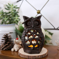 Wholesale Creative Retro cast Iron owl Figurine Candle Holder Candlestick household furnishing articles home decoration gift ZA3025