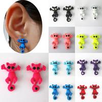 Mode 3D Eye Cute Cartoon Animal boucles d'oreilles Korean Earring Cat Omen Exagéré Piercing Ear Studs Jewelry