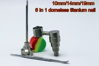 Wholesale 2016 Bong Tool Set mm mm mm Adjustable Domeless GR2 Titanium Nail Carb Cap Dabber Tool Slicone Jar Dab Container For Water Bongs