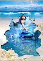 Wholesale Custom d floor wallpaper Fantasy mermaid d flooring wallpaper photo understand world wallpaper flooring