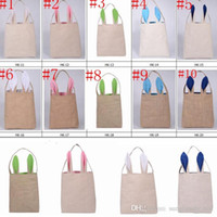 basket bags wholesale - 10 Colors Cotton Linen Easter Bunny Ears Basket Bag Gift Packing Easter Handbag For Child Fine Festival Gift cm PPA664