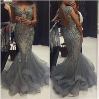 Wholesale 2017 Gray Evening Dresses Deep V Neck Mermaid Sleeveless Prom Party Gowns Tulle Crystals Open Back Formal Gowns Sequin Women Gowns Cystom