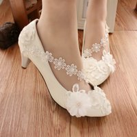 Wholesale White anklets flower bridesmaid shoes high heeled dress shoes low pearl wedding shoe female with performance