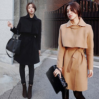 Women Square Neck Long Sleeve 2016 autumn and winter women's coat new Korean Slim woolen coat female in the long section of the waist wool coat woman H34