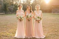 Reference Images beach blow - Cheap Country Style Pretty Blush Bridesmaid Dress Mixed Style Blow Chiffon Boho Long Bridesmaid Dresses Beach Wedding Party Gowns