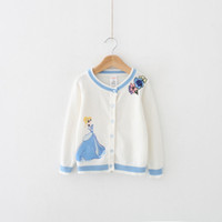 Wholesale Baby Girls Kids Sweater Cardigan Printed Princess Top Shirt Clothes Outerwear