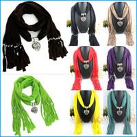 Wholesale Fashion pendant scarf Alloy Jewelry Scarf Necklace Polyester Scarves beach towel tassel shawl pashmina
