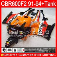 Comression Mold For Honda CBR600 F2 8 Gifts 23 Colors For HONDA CBR600F2 91 92 93 94 CBR600RR FS Repsol Orange 1HM29 CBR 600F2 600 F2 CBR600 F2 1991 1992 1993 1994 blk Fairing