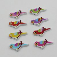 Wholesale 100pcs Colorful Lead free Bird Wood Beads for Bracelet Necklace x17mm k04021